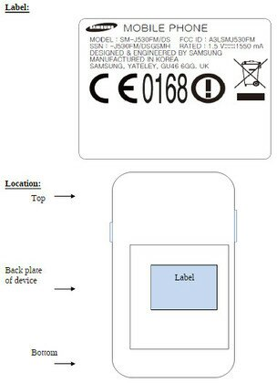 Samsung Galaxy J5 2017 FCC Label